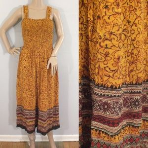 Coldwater Creek yellow red tribal midi dress